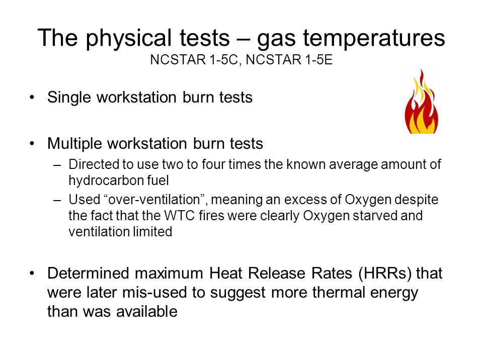 The physical tests – gas temperatures NCSTAR 1-5C, NCSTAR 1-5E