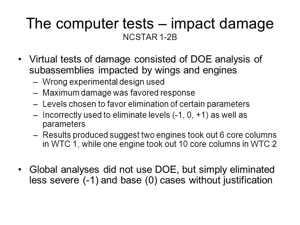 The computer tests – impact damage NCSTAR 1-2B