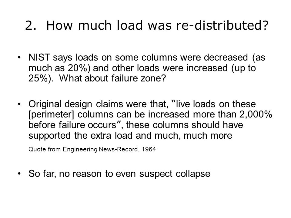 2. How much load was re-distributed