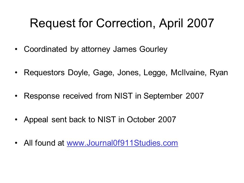 Request for Correction, April 2007