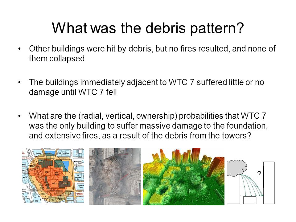 What was the debris pattern