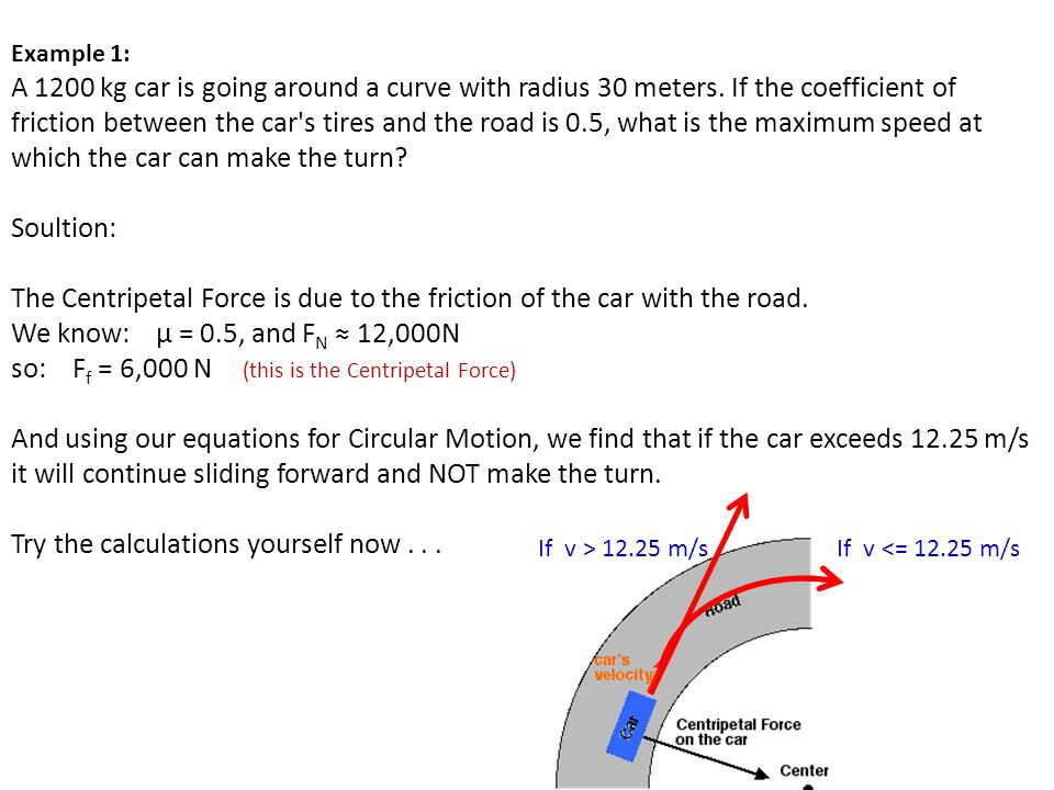 The Centripetal Force is due to the friction of the car with the road.