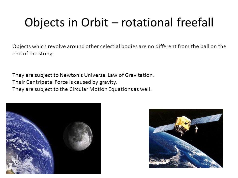 Objects in Orbit – rotational freefall