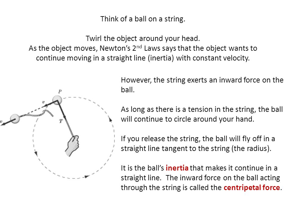 Think of a ball on a string.
