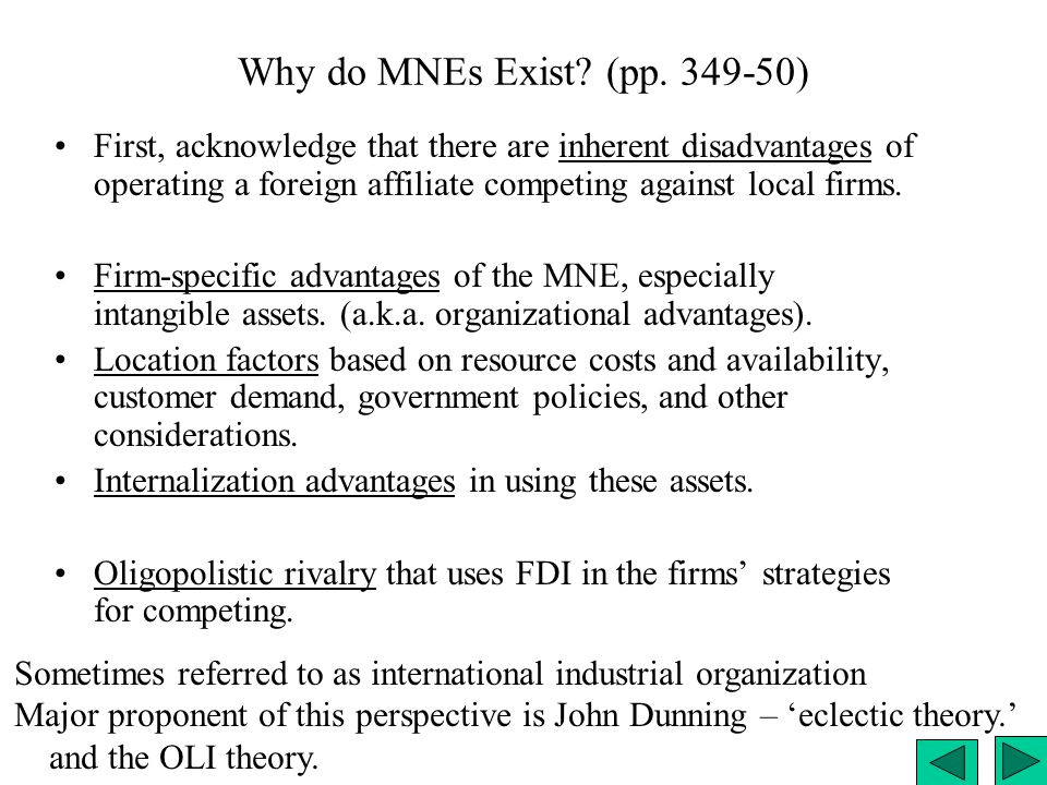 Why do MNEs Exist (pp. 349-50)