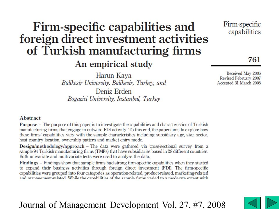 OLI in Turkey Journal of Management Development Vol. 27, #7. 2008
