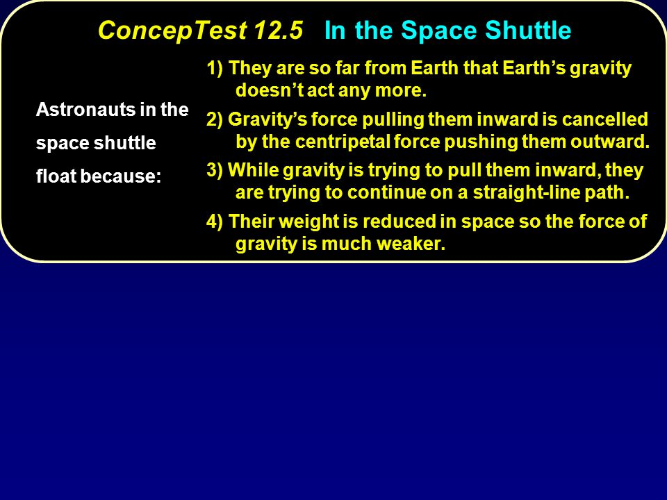 ConcepTest 12.5 In the Space Shuttle