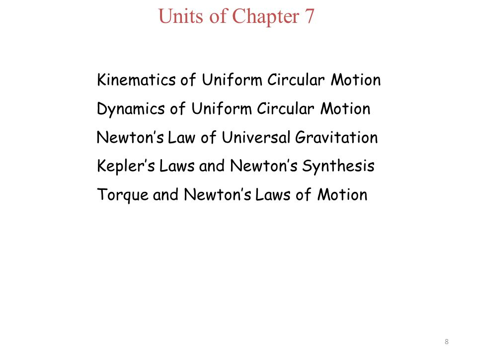 Units of Chapter 7 Kinematics of Uniform Circular Motion