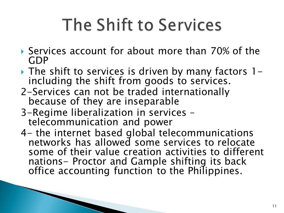 The Shift to Services Services account for about more than 70% of the GDP.