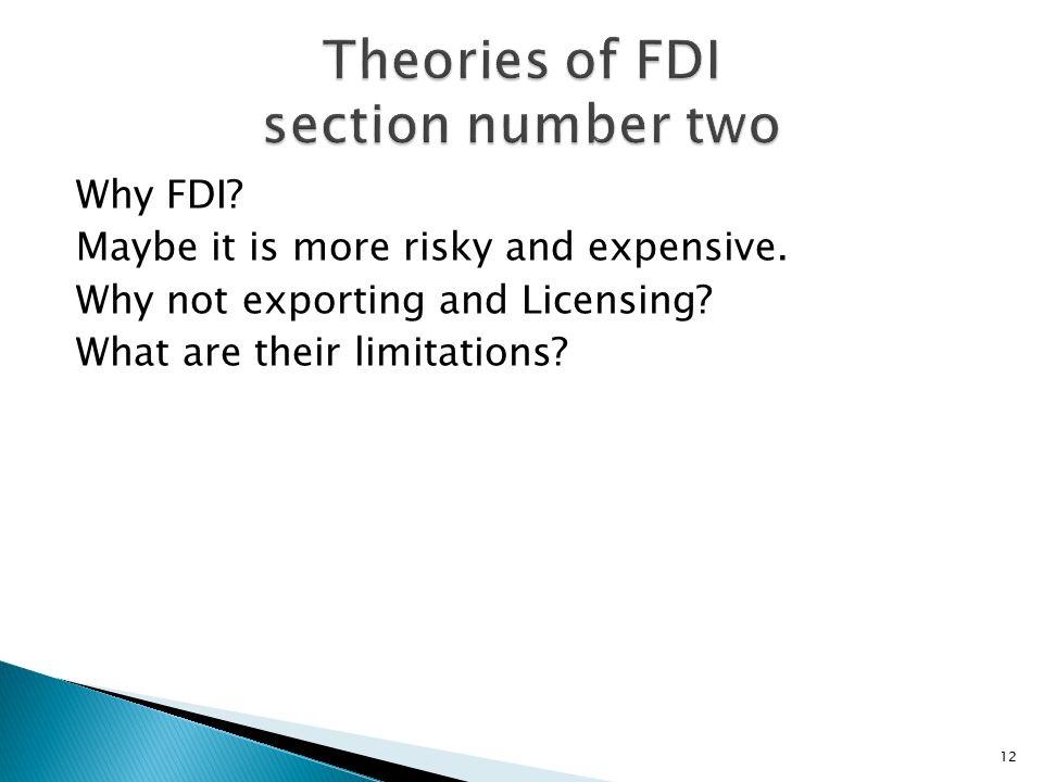 Theories of FDI section number two