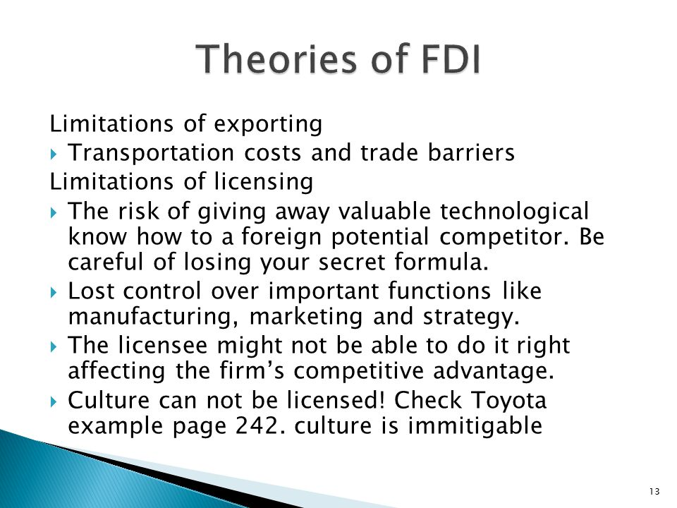 Theories of FDI Limitations of exporting