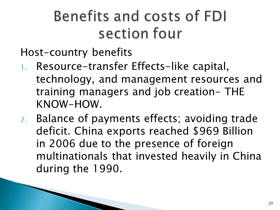 Benefits and costs of FDI section four