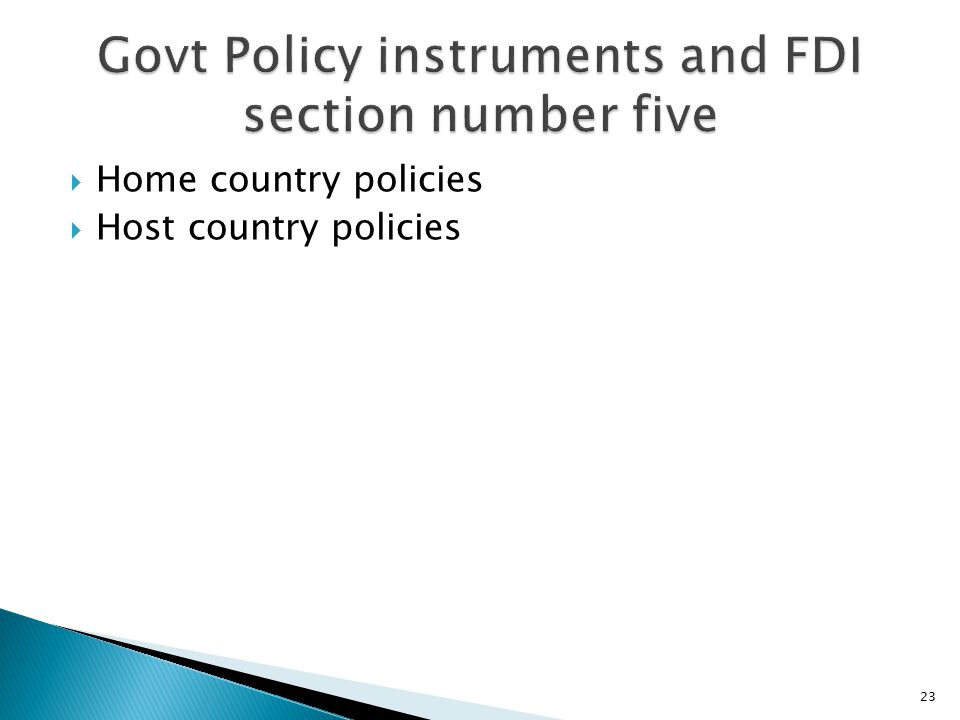 Govt Policy instruments and FDI section number five