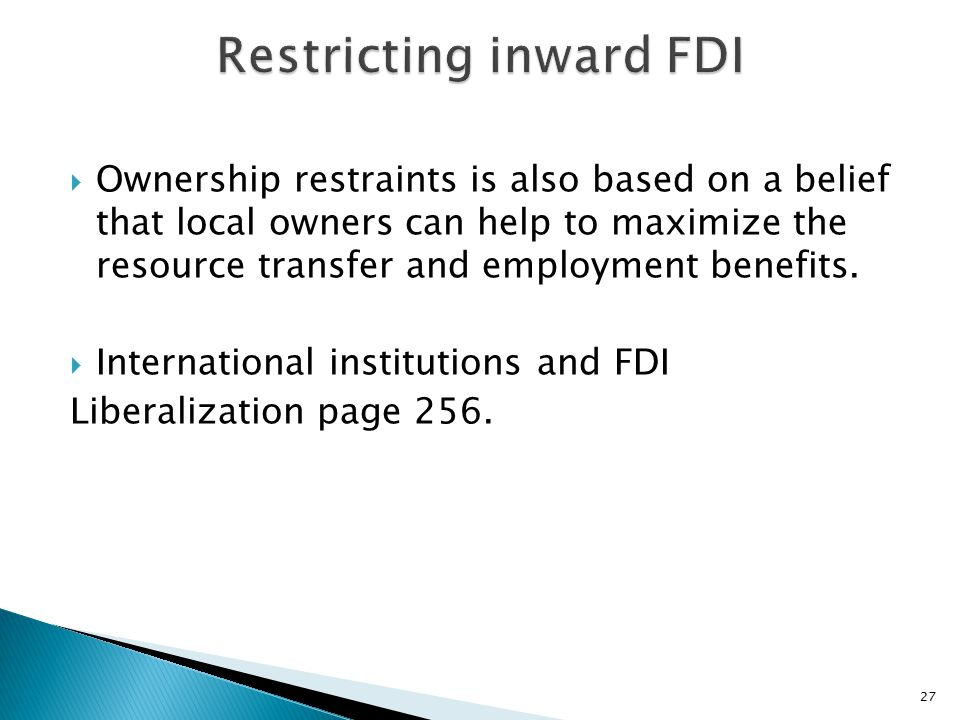 Restricting inward FDI