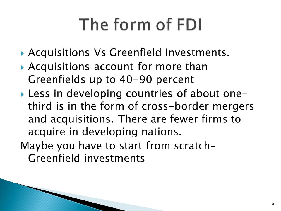 acquisitions versus greenfield investments Cross-border mergers and acquisitions vs greenfield foreign direct investment:  the role of firm heterogeneity ☆ volker nocke a,⁎ , stephen yeaple b,1.