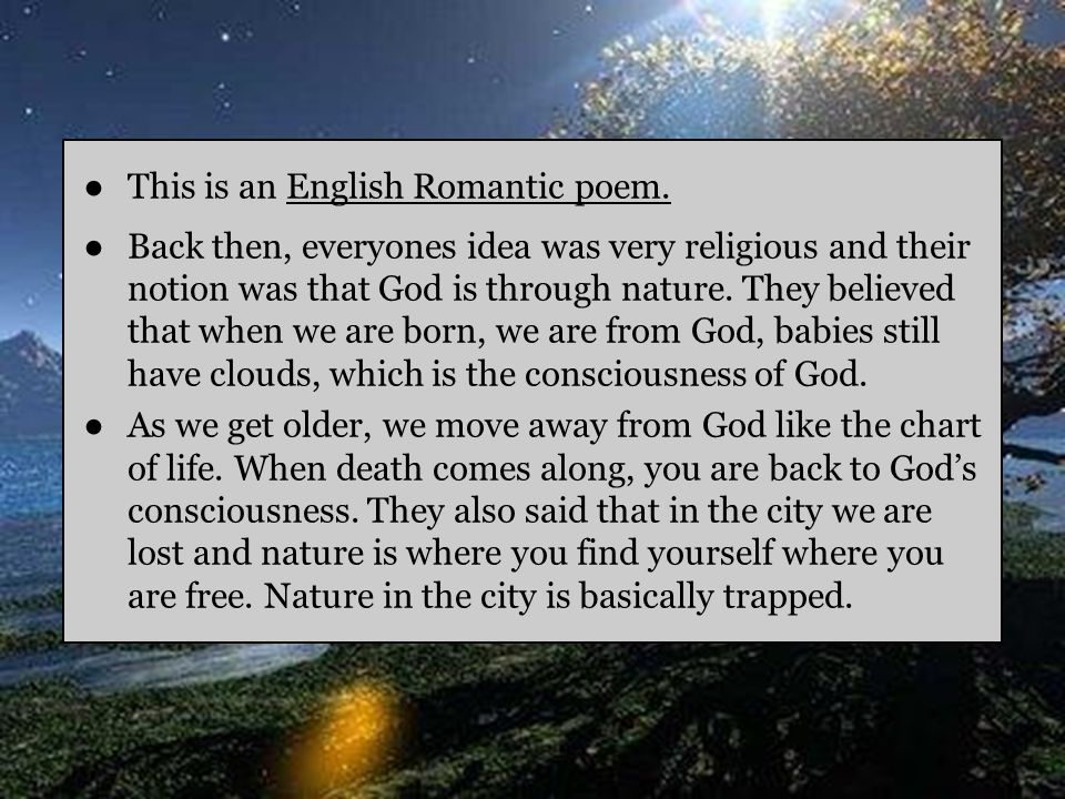 This is an English Romantic poem.