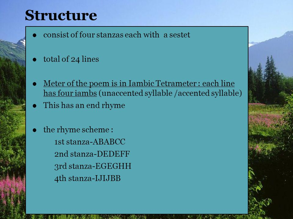Structure consist of four stanzas each with a sestet total of 24 lines