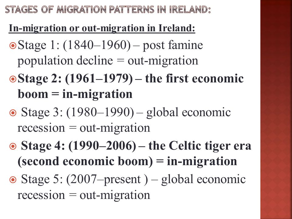 Stages of migration patterns in Ireland: