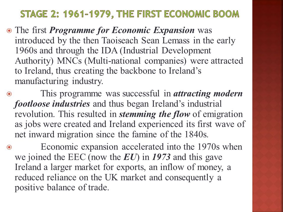 Stage 2: 1961–1979, The first economic boom
