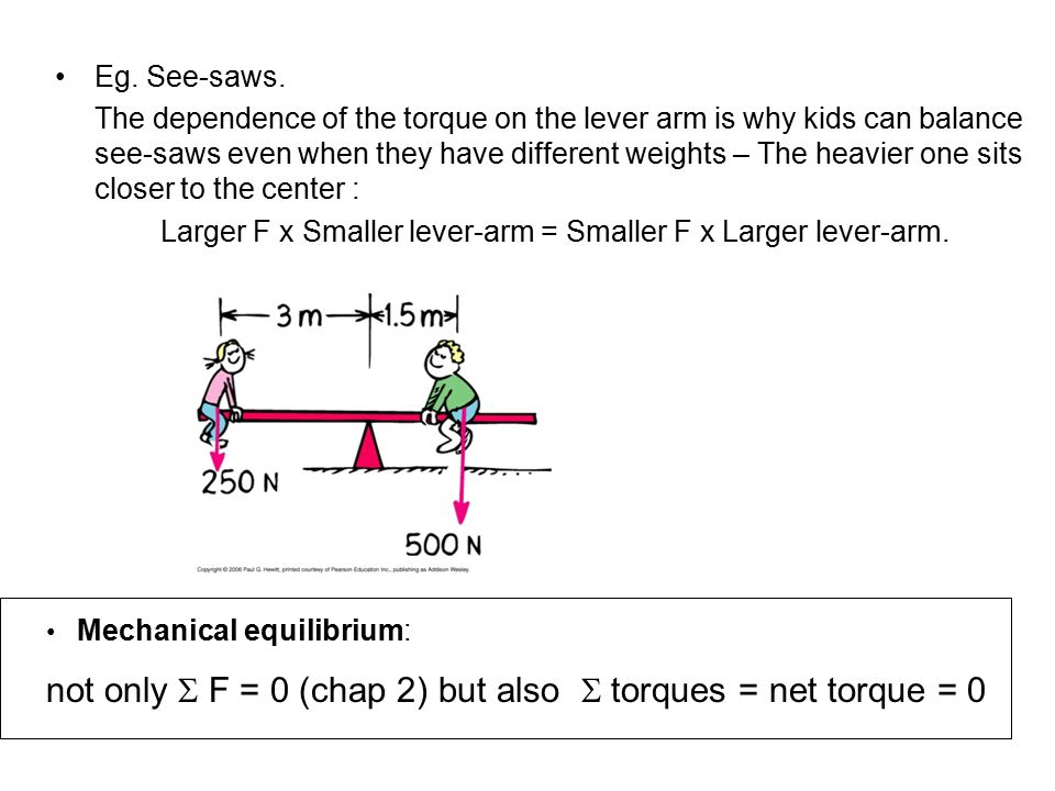 not only S F = 0 (chap 2) but also S torques = net torque = 0