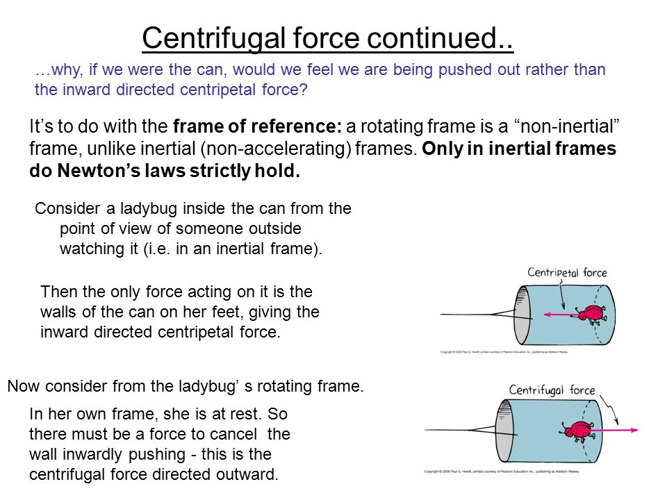 Centrifugal force continued..