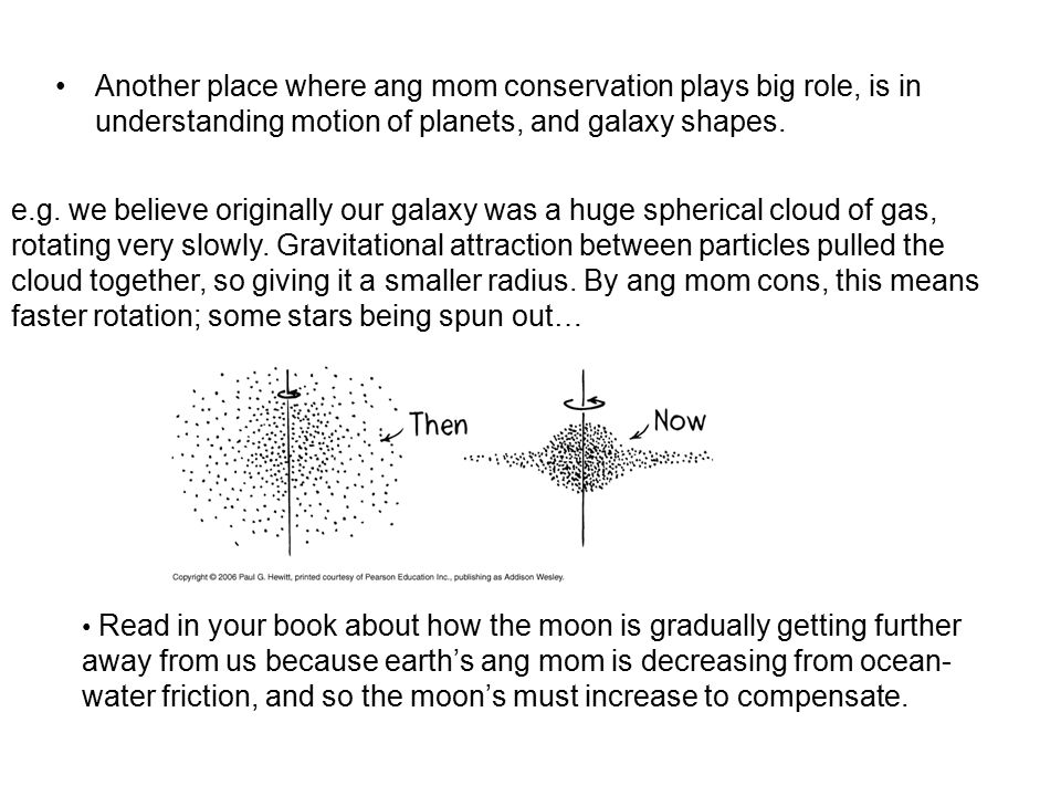 Another place where ang mom conservation plays big role, is in understanding motion of planets, and galaxy shapes.