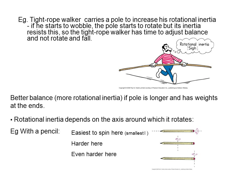 Eg. Tight-rope walker carries a pole to increase his rotational inertia - if he starts to wobble, the pole starts to rotate but its inertia resists this, so the tight-rope walker has time to adjust balance and not rotate and fall.