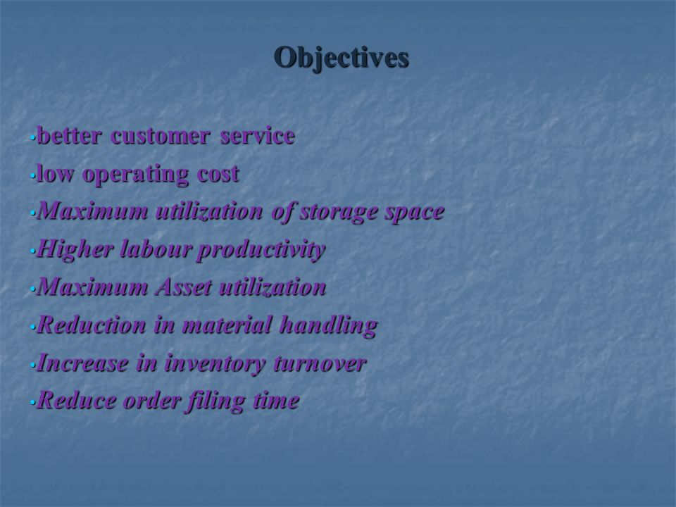 Objectives better customer service low operating cost