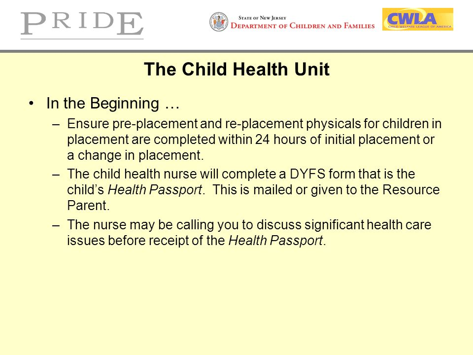 The Child Health Unit In the Beginning …