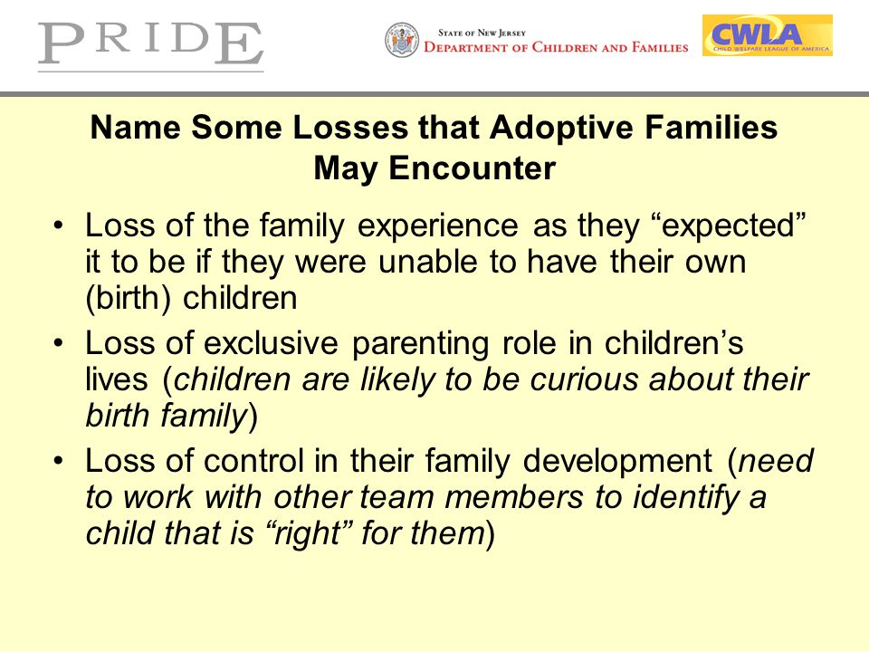 Name Some Losses that Adoptive Families May Encounter