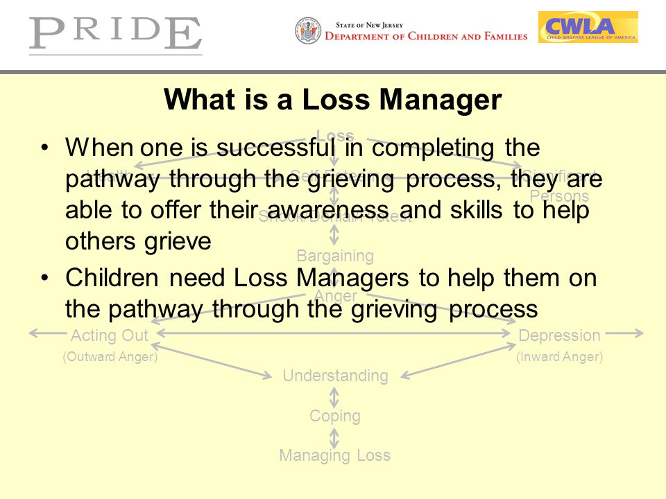 What is a Loss Manager Loss. Health Self-Esteem Significant. Persons. Shock/Denial/Protest. Bargaining.