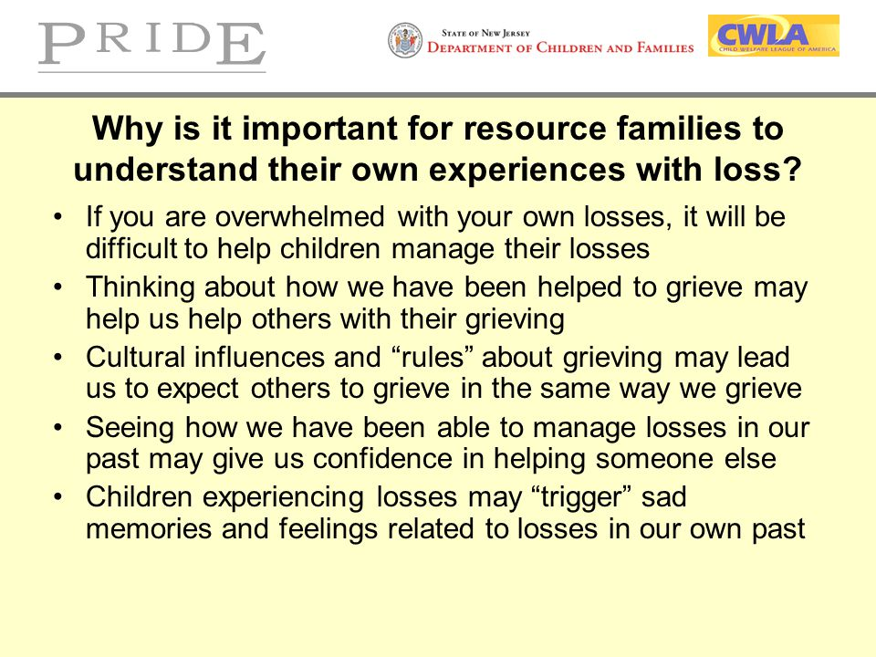 Why is it important for resource families to understand their own experiences with loss