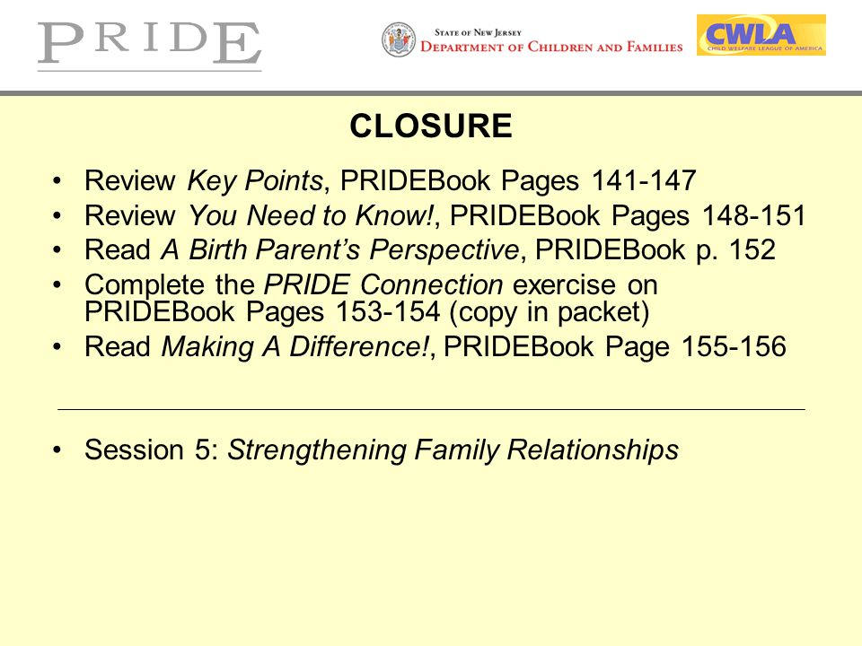 CLOSURE Review Key Points, PRIDEBook Pages 141-147