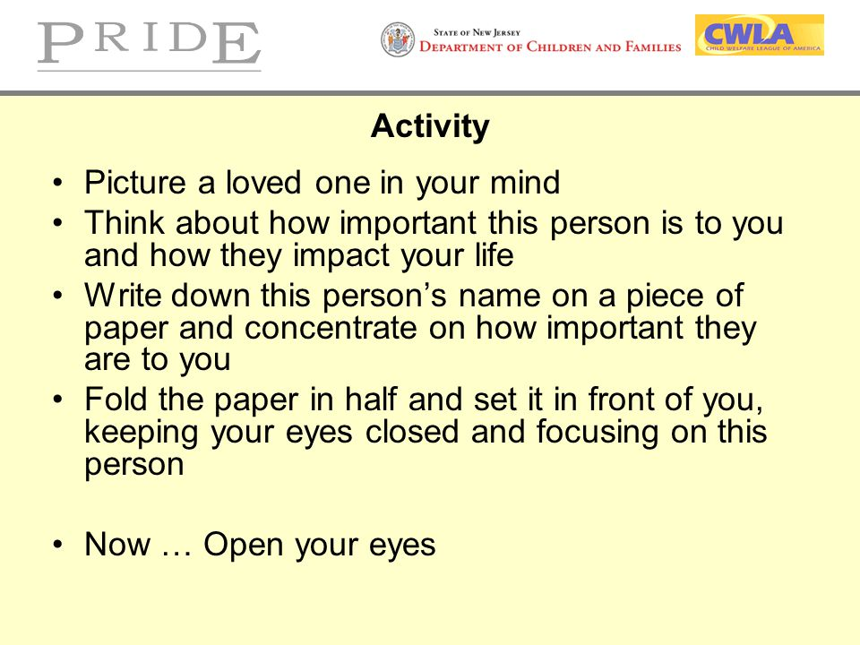 Activity Picture a loved one in your mind. Think about how important this person is to you and how they impact your life.
