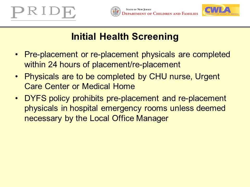 Initial Health Screening