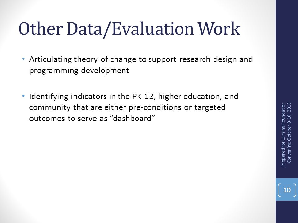 Other Data/Evaluation Work