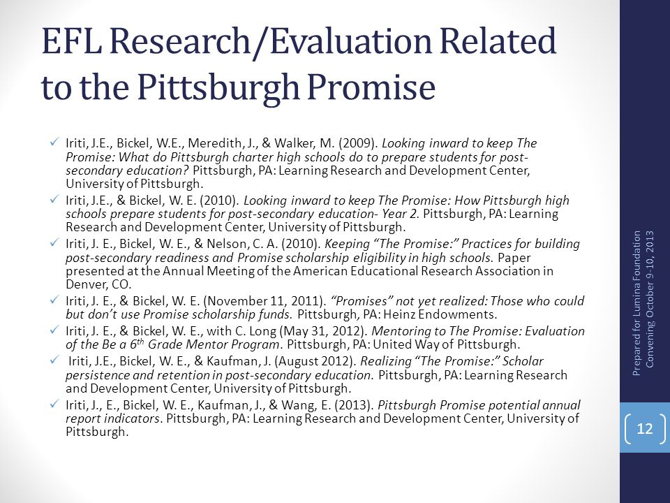 EFL Research/Evaluation Related to the Pittsburgh Promise