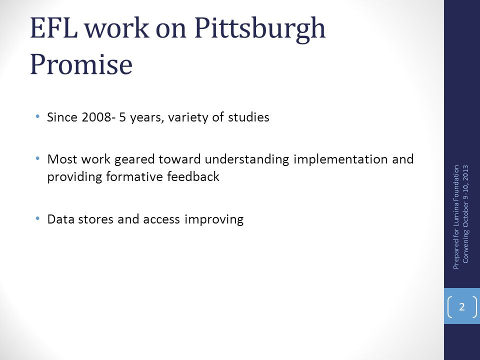 EFL work on Pittsburgh Promise