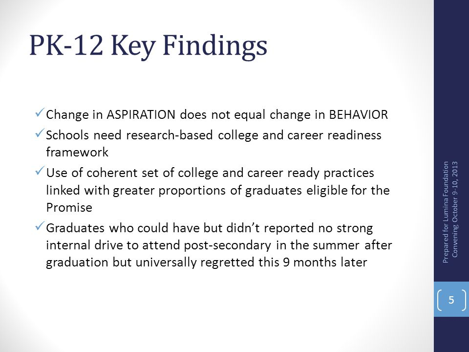 PK-12 Key Findings Change in ASPIRATION does not equal change in BEHAVIOR. Schools need research-based college and career readiness framework.