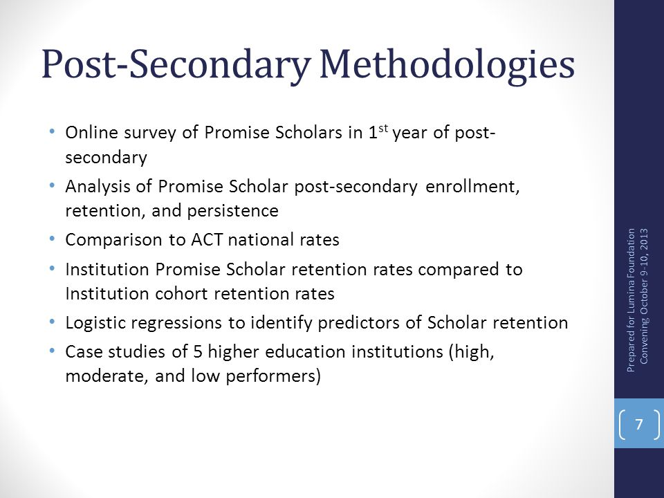 Post-Secondary Methodologies