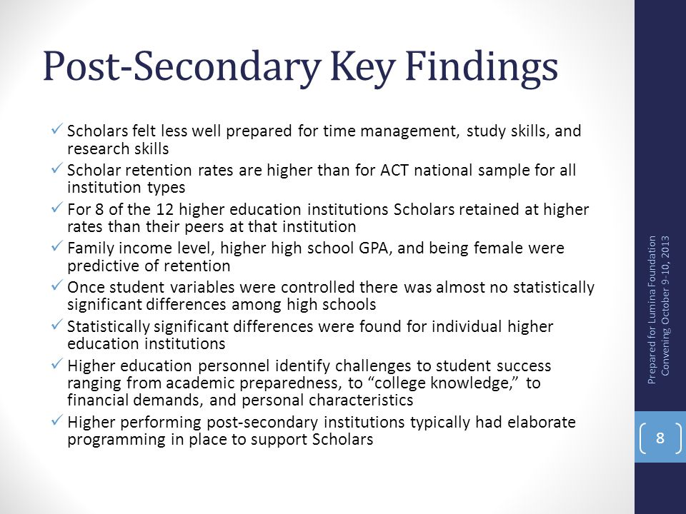 Post-Secondary Key Findings