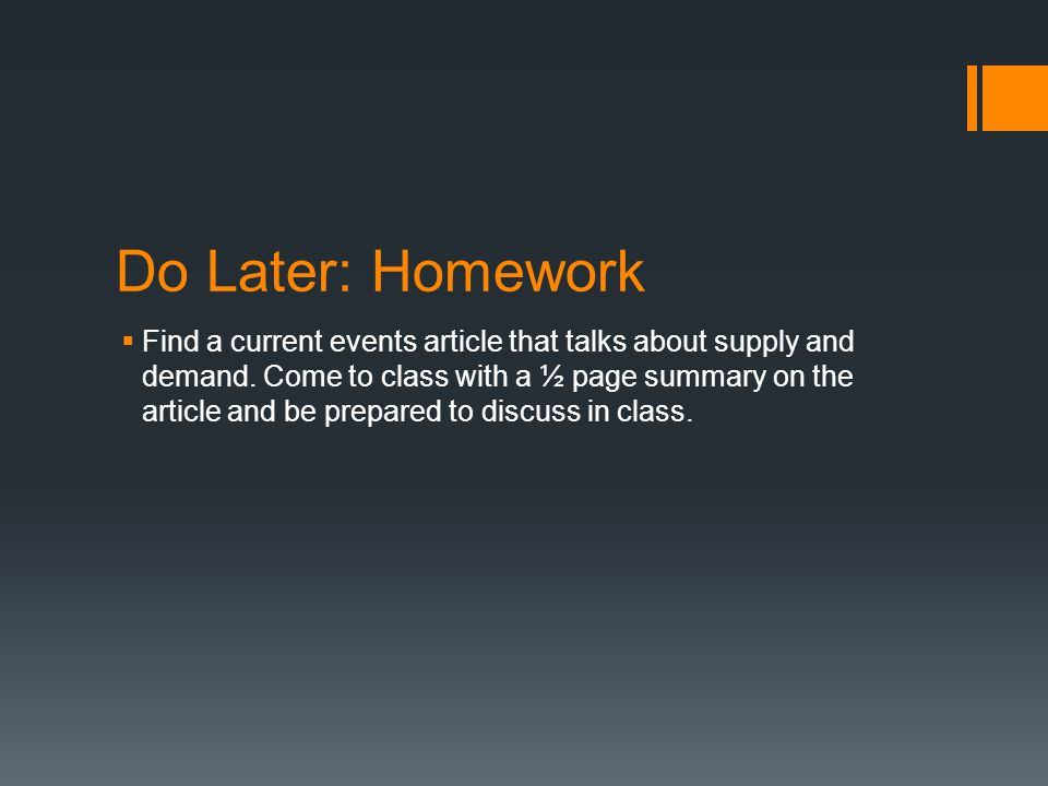 Do Later: Homework