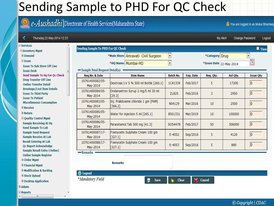 Sending Sample to PHD For QC Check