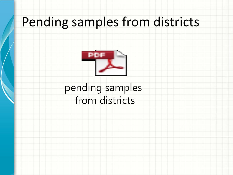 Pending samples from districts