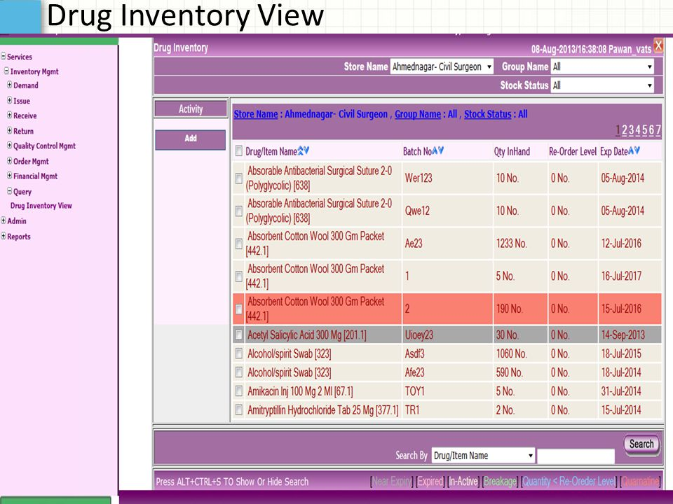 Drug Inventory View
