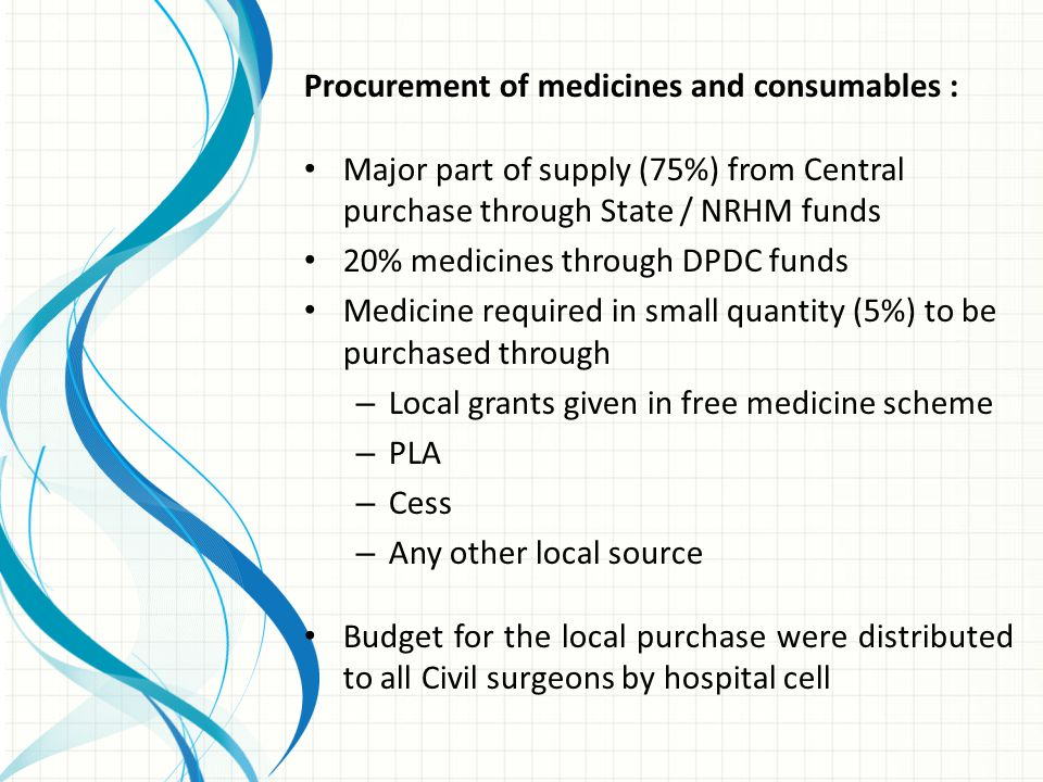 Procurement of medicines and consumables :