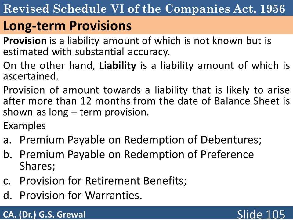 Long-term Provisions Premium Payable on Redemption of Debentures;