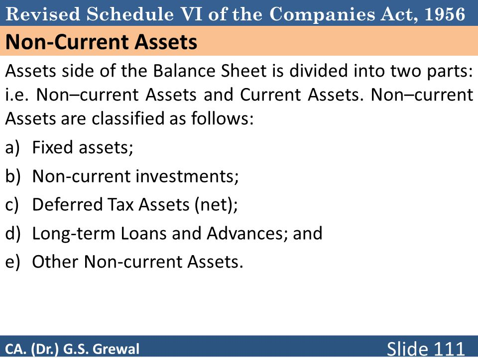 Schedule VI Non-Current Assets.