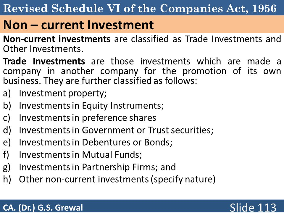 Non – current Investment