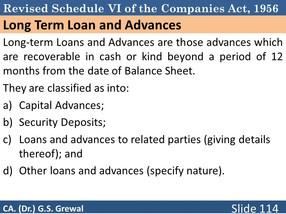 Long Term Loan and Advances